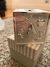 e01bea8250bd Baby boy girl silver plated money box cube abc christening gift John Lewis