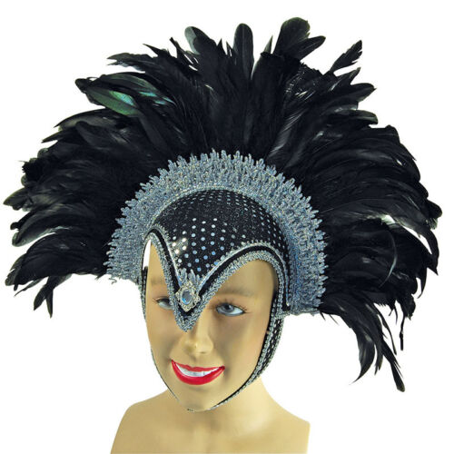 PIUMA casco nero gioiello + e PLUME Carnevale Costume