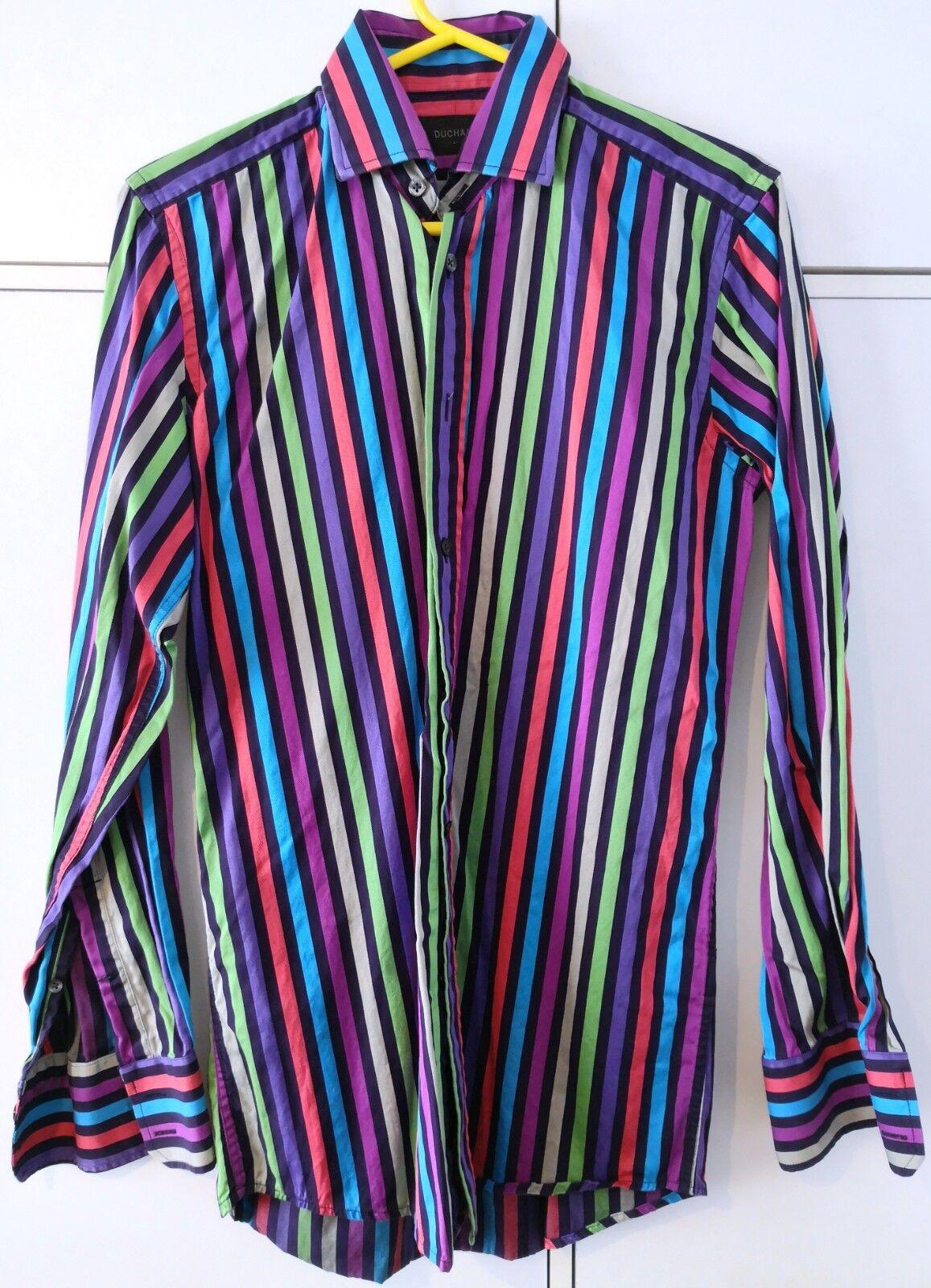 Duchamp London - Multi Coloured Striped Shirt 14.5 - DARK PURPLE - WORN ONCE