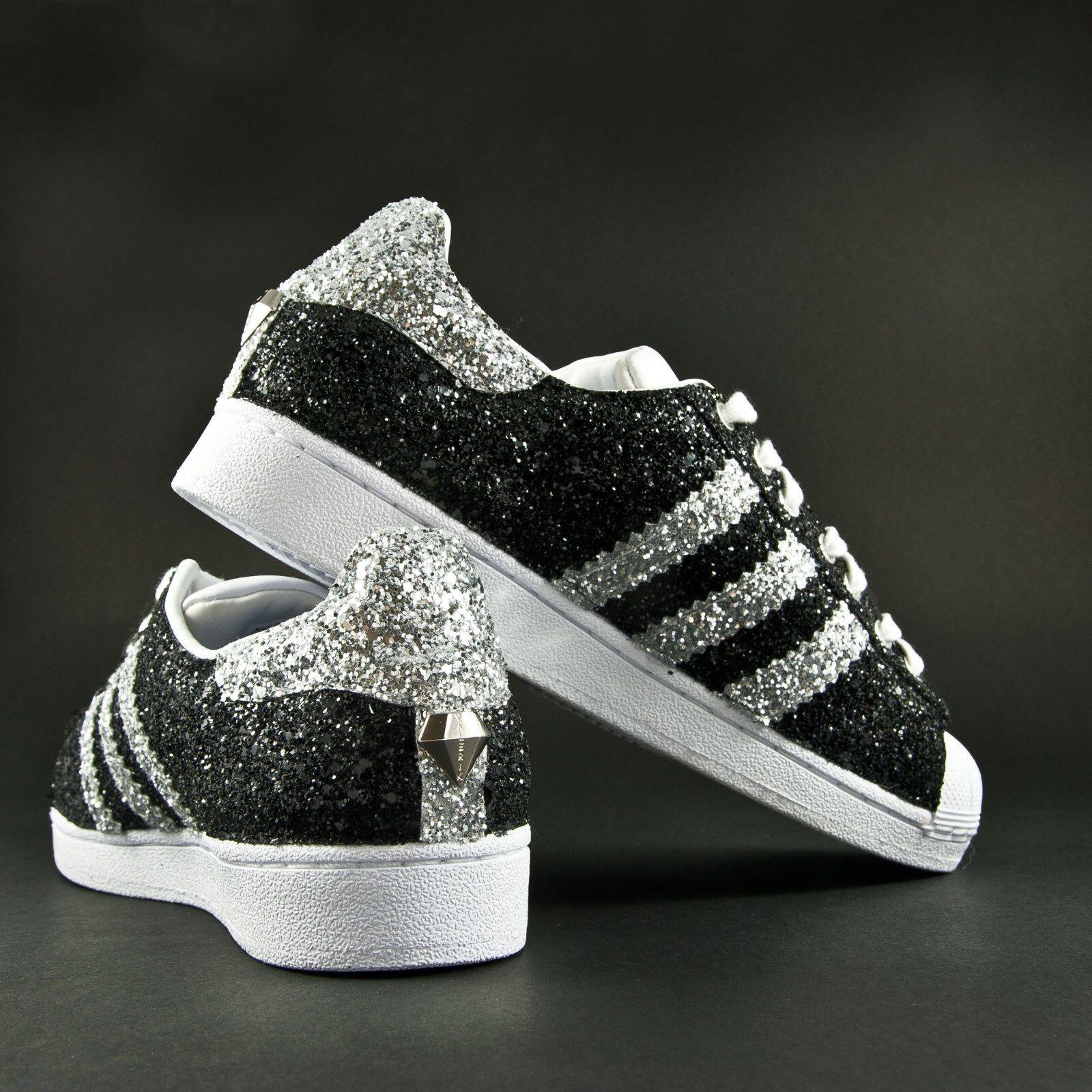 scarpe adidas superstar con glitter nero e glitter argento