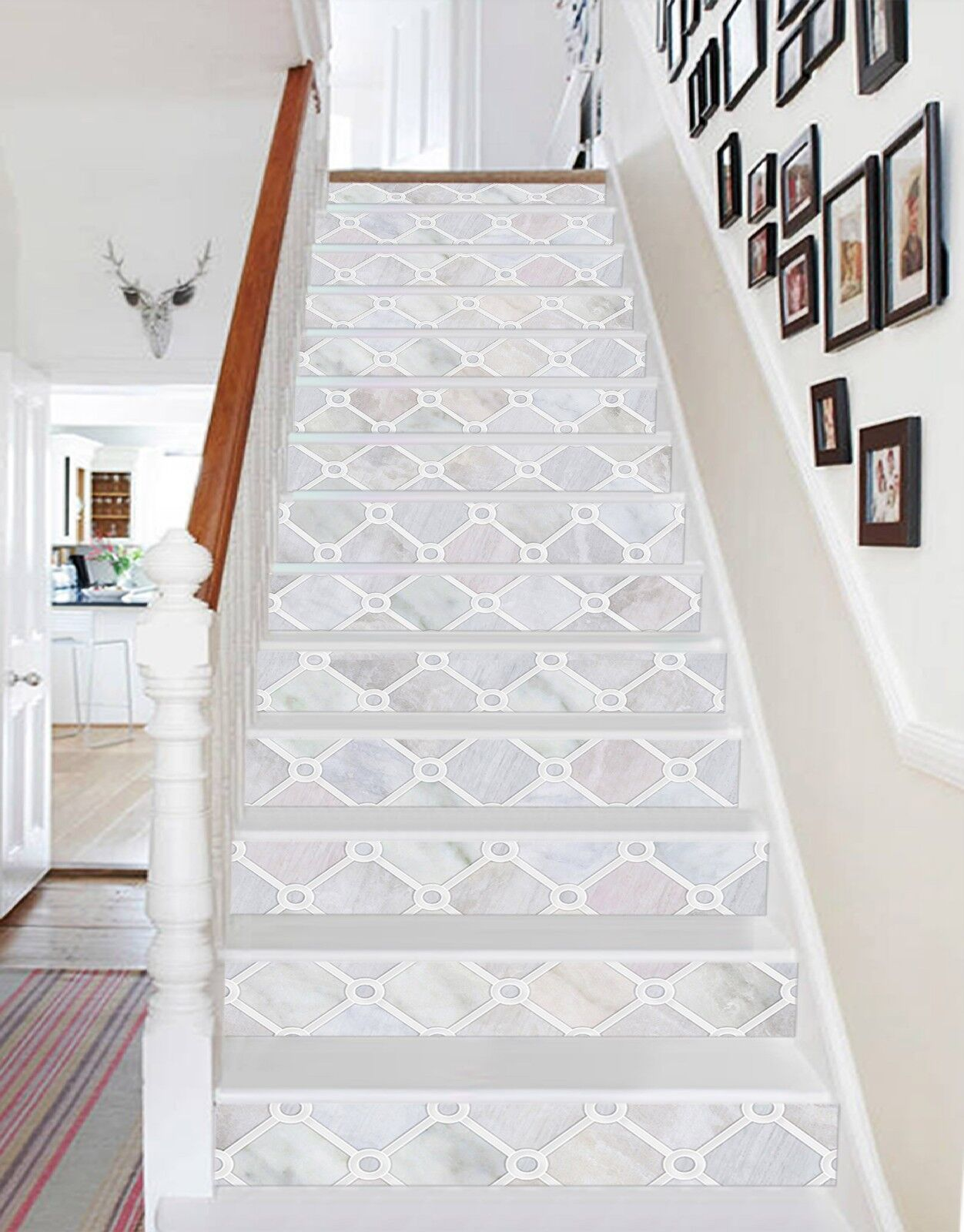 3D blanc Pebbles 7 Tile Marble Stair Risers Photo Mural Vinyl Decal Wallpaper