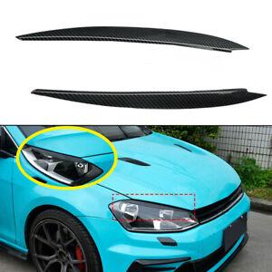For-VW-Golf-7-GTI-GTD-R-MK7-13-17-Carbon-Fiber-Headlight-Cover-Eyebrow-Eyelidsx