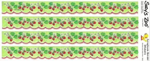 Suzys Zoo Scrapbooking Border Stickers 10 Sets Strawberry Strawberries Scalloped