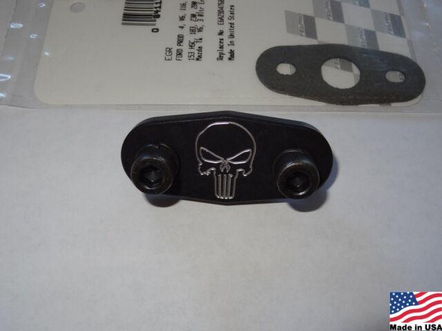 96-04 4.6 Mustang GT or Cobra Billet Aluminum EGR delete plate kit Black & Skull
