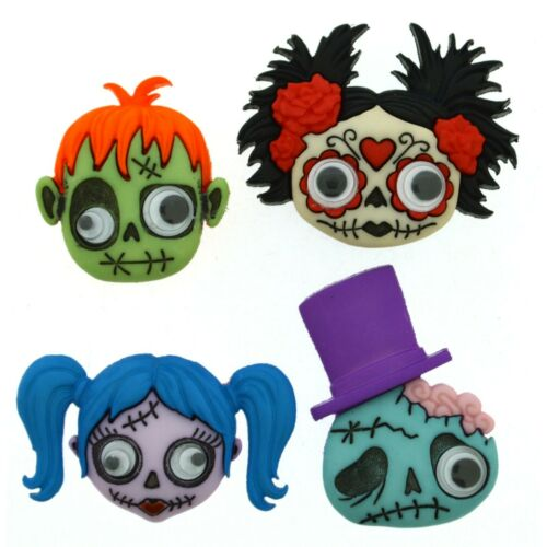 Zany Zombies Childrens Buttons Novelty Buttons Cake Decorations Googly Eyes