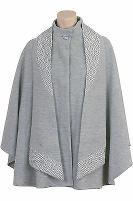 Busy Ladies Light Grey Wool Blend Cape with Detachable Scarf