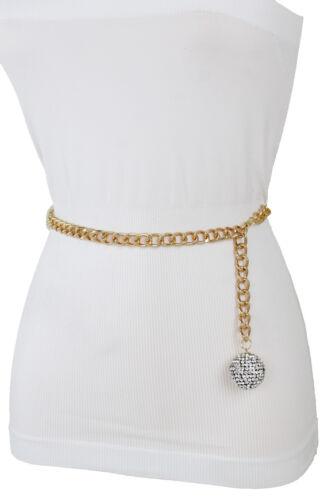 Women High Waist Hip Gold Metal Chain Bling Disco Ball Buckle Belt Size M L XL
