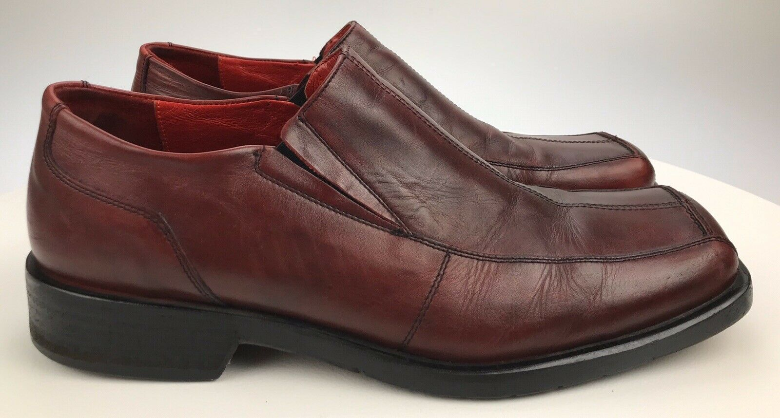 Men's 13 Kenneth Cole New York Oxblood Red Leather Slip On Loafers Made In Italy