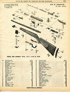 Details about 1962 Print Ad of Anschutz Jr Varminter 1416 1417 1418 & 1419  Rifle Parts List