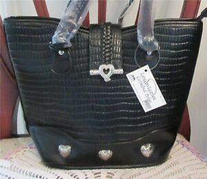 Langoon-Leather-Cathedral-Zippered-Bag-Purse-Tote-Black-New-With-Tag
