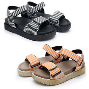 Summer-Womens-Check-Slingback-Sandals-Low-Platform-Open-Toe-Casual-Walking-Shoes