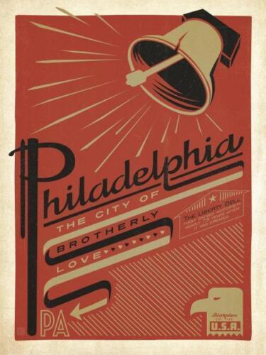 """Philadelphia, City of Brotherly Love"" giclee open ed, Sign - Recreated 24x18"