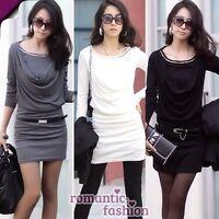 ♥Größe 34-38 Longshirt kleid Tunika+Grau/Weiß/Schwarz+NEU+SOFORT lieferbar♥