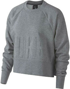 Sizes M//L//XL Nike Women/'s Dry Versa  Grey Cropped Training Pullover CD8793-091
