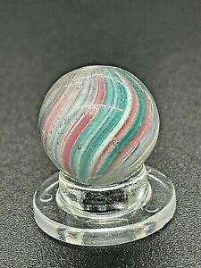 Antique Vintage German Green Pink Panelled Onionskin Swirl Handmade Marble 0.591