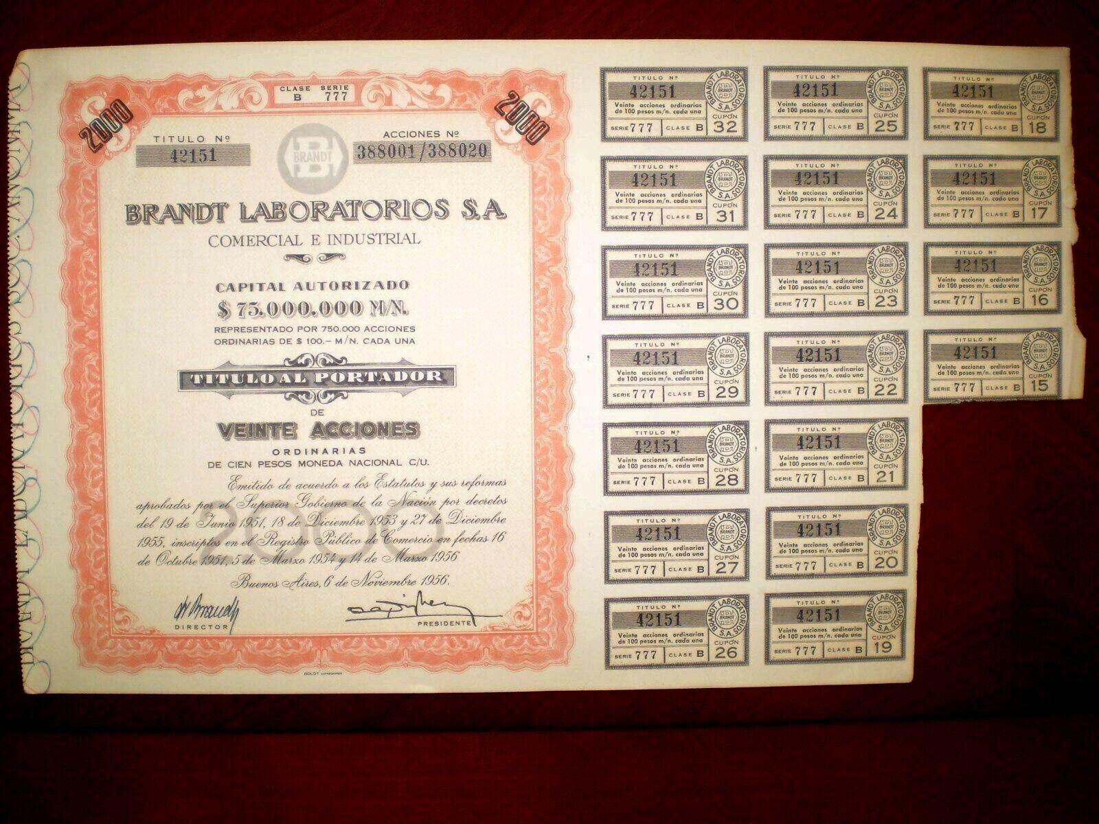 Brandt Laboratorios share certificate 1956 Argentina