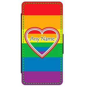 PERSONALISED HEART LGBT GAY PRIDE FLAG ANY NAME PRINT FAUX LEATHER MENS WALLET