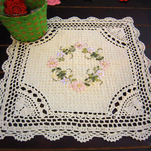 Vintage-Crochet-Lace-Doily-Hand-Embroidered-Square-Tablecloth-Ecru-Floral-16inch