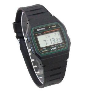 daa017743d3b CASIO F91W-3A DIGITAL BLACK RESIN Classic Sports Alarm Chronograph ...