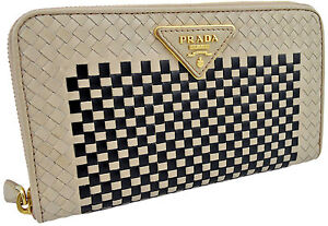 750-beige-PRADA-nude-noir-Mandras-Cuir-Femme-Clutch-Wallet-Limited-Edition