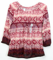 Lizwear Printer Crinkle Top Blouse Knit Shirt Red Blue S M