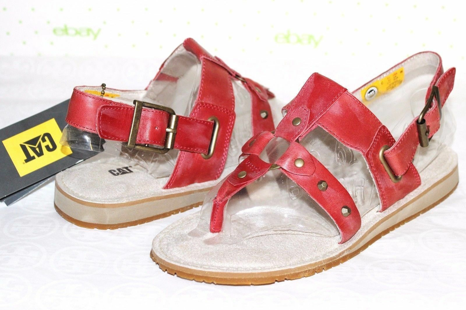 CATERPILLAR Birdsong Studded Antiqued-Red Leather Sandals 9.5 M NEW  L@@K
