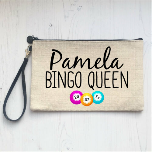 Personalised Large Linen Bingo Pens Dabbers Case Bag Pouch Birthday Gift Present