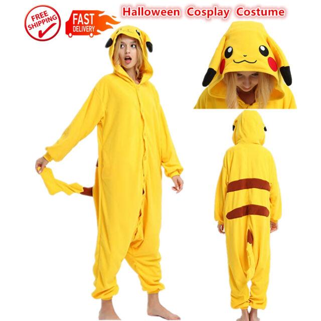 Pikachu Costume Unisex Kigurumi Animal Cosplay Adult  Onesie11 Pajamas Sleepwear