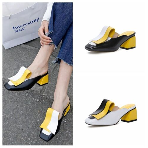 Womens Square Toe Block heels Color Stitching Slippers Close Toe Leather Mules