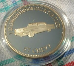 1-OZ-LIM-ED-999-GOLD-PLATED-MUSCLE-CAR-COLLECTORS-TOKEN-4-5-CM-57-CHEVY