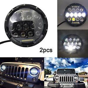 Pair-75W-CREE-7-034-Round-LED-Headlights-For-Hummer-Jeep-Wrangler-CJ-TJ-JK-07-15
