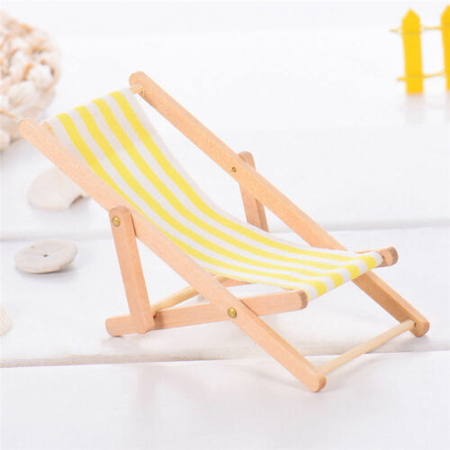 3 Pieces Striped Wooden Lounge Chair 1//12 Dollhouse Miniature Furniture