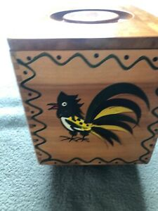 Woodpecker-Wood-Ware-Wooden-Rooster-Hand-Painted-60s-Kitchen-Canister-Box
