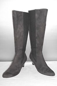 Women-039-s-Calvin-Klein-Maxfield-Gray-Fashion-Knee-High-Wedge-Boots-Size-6-5-B