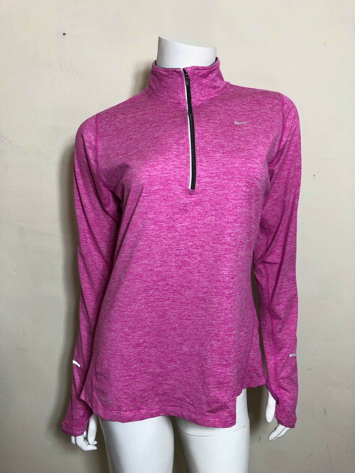 NIKE Dri-Fit 1 4 Zip Top In Heathered Pink Size M