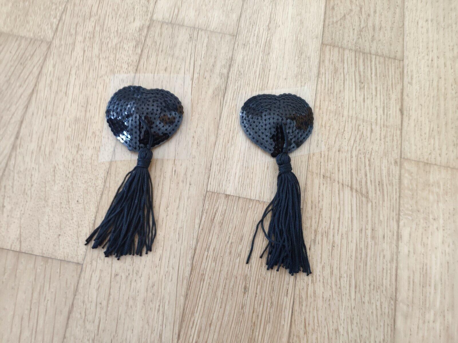 1 Paar Nippelcover Herz mit Tassel schwarz selbstklebend Brustwarzenabdeckung