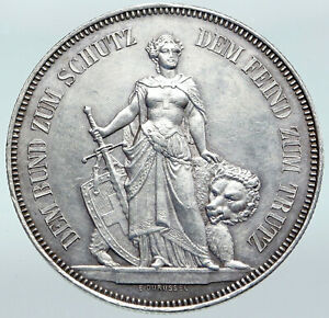 1885-SWITZERLAND-Canton-of-BERN-Shooting-Festival-Swiss-Silver-5-Fr-Coin-i87252