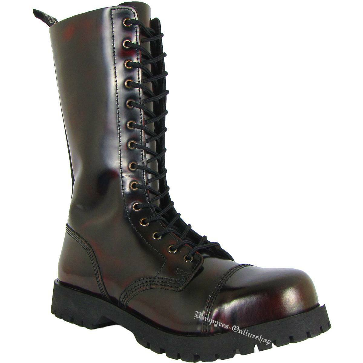Boots & Braces 14 agujeros botas Burgundy Rub off rojo negro and rangers cuero