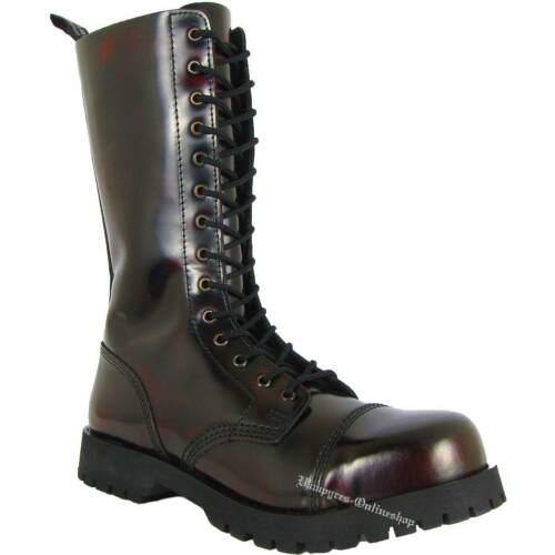 Boots /& Braces 14 Fori Stivali Burgundy rub off rosso nero and rangers in pelle