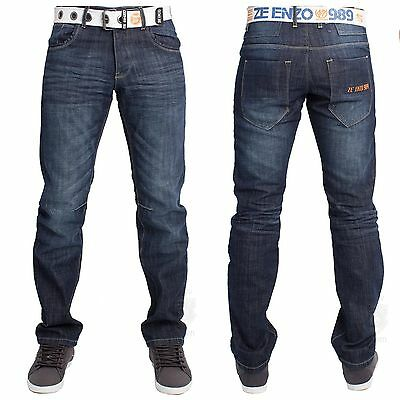 MENS BNWT ENZO EZ 266 STYLISH DENIM JEANS  REGULAR FIT FREE BELT* SIZES 30 TO 48