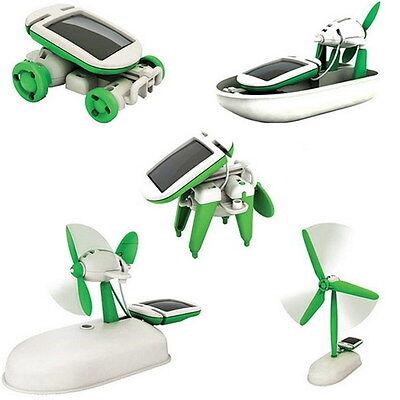 6 in 1 Solar DIY Educational Kit Toy Craetive Boat Fan Car Robot Puppy TOY JM