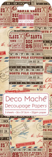 DECO MACHE PAPER FIRST EDITION POSTAGE 3 SHEETS OF DECOUPAGE