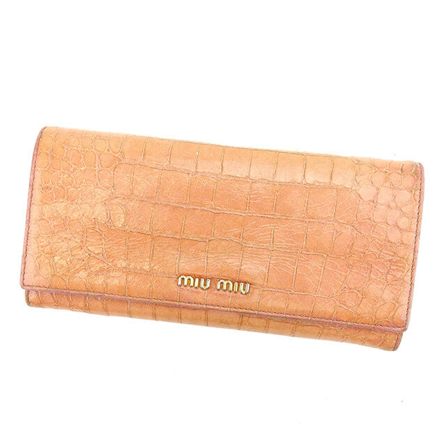 miumiu Wallet Purse Long Wallet Pink Gold Woman Authentic Used S435