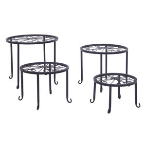 Wrought Iron 4 in 1 Metal Plant Stands Flower Pot Rack Holder Indoor/Outdoor USA