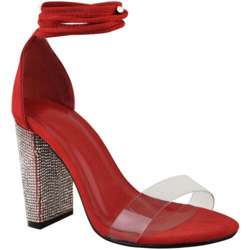 Débardeur Femme Strass Block Talons Hauts Sandales lacets Perspex Sangle Chaussures Taille