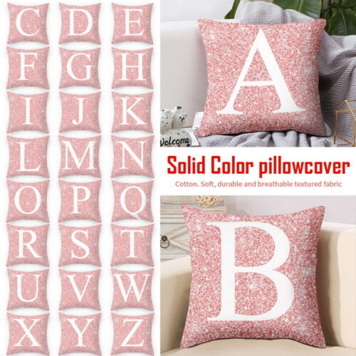 HOT Single Letter Printed Cushion Alphabet Case Pillows Cover Initials A-Z CHO