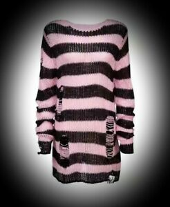 Womens Size 16 18 20 22 Gothic Flared Cuff Long Sleeve Pink Jumper Top New