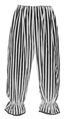 Adults Long White /& Black Vertical Stripe Bloomers