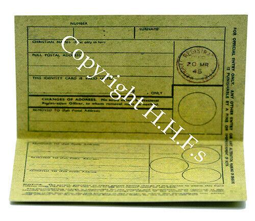 1940s-WW2-Blitz-Re enactment-Wartime Memorabilia IDENTITY CARD