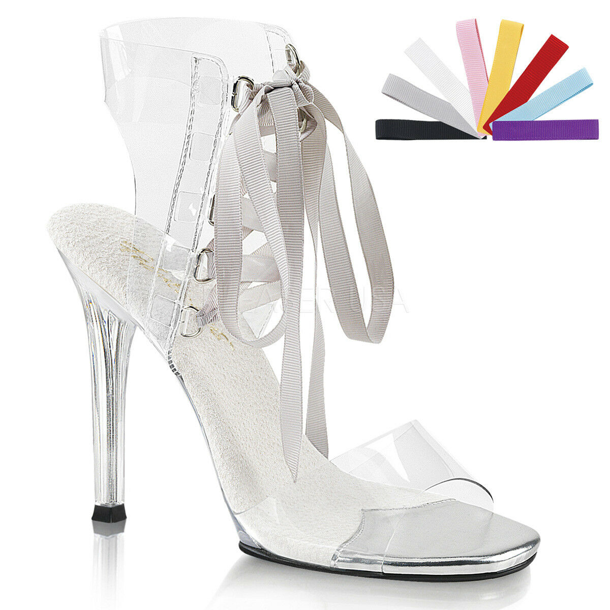 PLEASER GALA32/C/M Sexy Schuhes Pageant Clear Lace 4 1/2